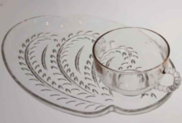 Where to find Vintage Glass Canape Set  tray   cup in Tulsa