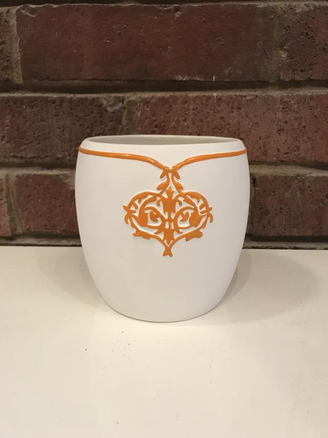 Where to find Orange Embellished White Ceramic Pot, 4 in Tulsa