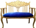 Rental store for Gold Antique Settee  royal blue velour s in Tulsa OK