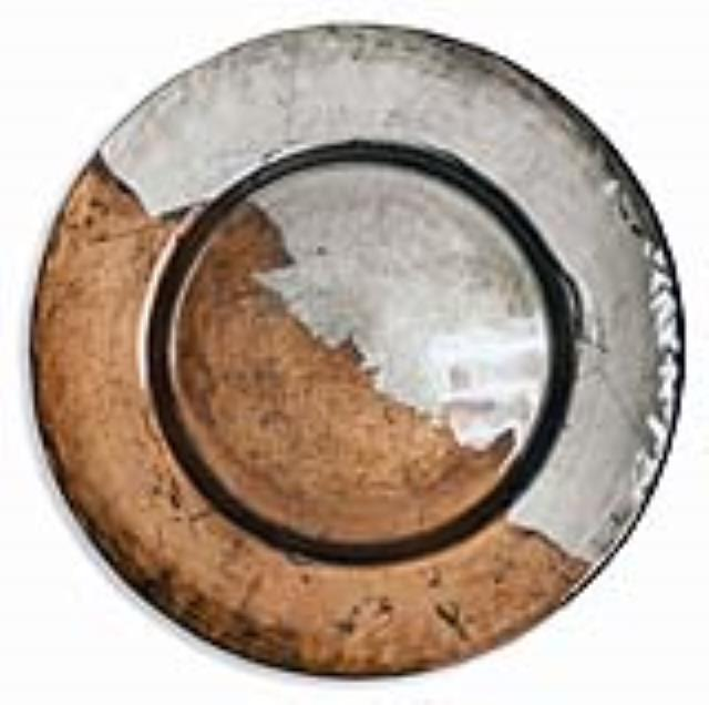 Where to find Handpainted Copper Pewter Glass Charger in Tulsa