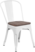 Rental store for Carson Chair. white metal, wood seat in Tulsa OK
